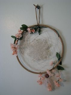 Charming Garden Dream Catcher. Pink flowers with doily center.. $24.00, via Etsy.