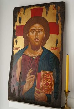 Pantocrator- Antique Look hand-painted Byzantine icon