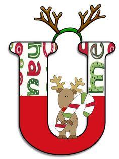 Litere cu reni - Logorici Christmas Alphabet, Monogram Alphabet, Christmas Ornaments, Reindeer Christmas, Christmas Ideas, Seasons, Holiday Decor, Birthday, Printables