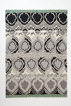 Monochrome Tapa Crewelwork Rug - Anthropologie.com