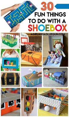 Shoe Box Crafts for Kids 30 fun things for kids to do with a shoe box! The post Shoe Box Crafts for Kids appeared first on Diy Crafts. Kids Crafts, Diy Craft Projects, Diy Crafts For Kids, Kids Diy, Baby Crafts, Recycling Projects For Kids, Decor Crafts, Preschool Crafts, Crafts For 3 Year Olds