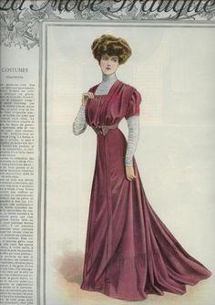 1908 La Mode Pratique, rose dress