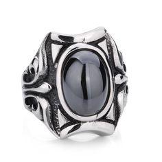 Gothic Vintage Punk Men's Big Titanium Gemstone Ring $159.90
