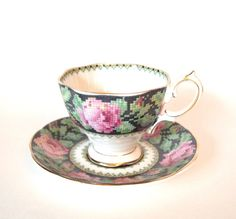 Royal Albert Crown China 'Needle Point' Teacup and Saucer - England Circa 1930's by HouseofLucien