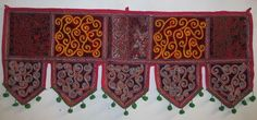 INDIAN COTTON WINDOW VALANCE TOPPER VINTAGE EMBROIDERY DOOR DECOR HANGING VR83 #Handmade