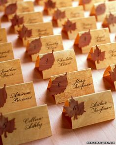 Show your ingrained sense of style with seating cards crafted from paper-thin wood veneer. These inexpensive sheets are pliable enough to fold and cut easily into delicate shapes; the elegant graining makes a distinctive canvas for calligraphy. We used craft punches to create maple and birch leaves.