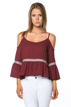 Women's Embroidered Trim Cold Shoulder Top Small, Medium, Large NEW Wine Color #Mittoshop #Blouse