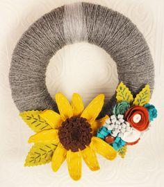 Interchangeable Season Yarn Wreath  Made to Order PIck by cakoons, $45.00 Felt Wreath, Burlap Wreath, Yarn Wreaths, How To Make Wreaths, Felt Flowers, Flower Making, Seasons, Crafty, Unique Jewelry