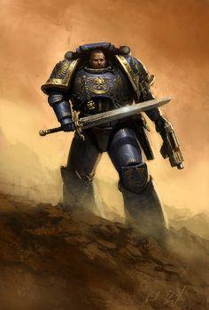 [UltraMarine, Warhammer by Karl Kopinski Warhammer 40k Art, Warhammer Fantasy, High Fantasy, Medieval Fantasy, Space Artwork, Tyranids, Cool Books, Fantastic Art, Awesome Art