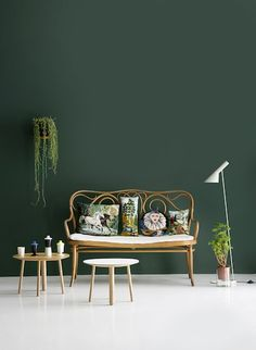 A wall painted in Hunter green brings garden-style charm to your living room. Discover this shade and an array of other Valspar greens for your home.