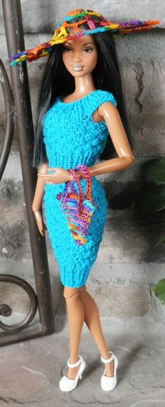 Caribbean blue hourglass dress with multicolor variegated sunhat and matching purse. Buy at FDFdolls.com!