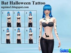 Bat Halloween Sims4 Tattoo by NGSims3  Found in TSR Category 'Sims 4 Female Tattoos'