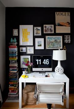 Wall Decor for Home Office. Wall Decor for Home Office. Black Accent Walls, Black Walls, Navy Walls, Office Walls, Office Decor, Office Ideas, Office Artwork, Space Artwork, The Design Files