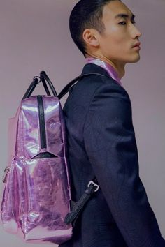 ACCESSORIES // metallic backpack @ Versace AW16