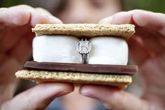 We had s'mores at the bonfire after the proposal. Would have been a fun shot! Engament Ring
