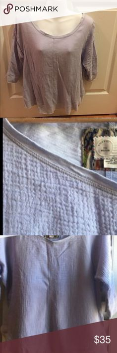 """Anthropologie Postmark gauze circle seam tee Size: M. Color: lilac. 100% cotton. Pullover. 3/4 sleeves. 25"""" long. Unfinished sleeves & hem. Hand wash cold or dry clean. BNWT, never worn or washed. No damage. (Note, pix 3 & 4 are Anthro stock photos of the shirt in white, just to show fit & styling; shirt for sale is this listing is lilac.) Anthropologie Tops Tees - Long Sleeve"""