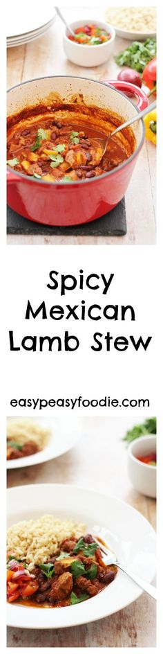 Inspired by a traditional Mexican mole, this Spicy Mexican Lamb Stew is full of warming spices and just a touch of cocoa. With less than 15 minutes prep time, this recipe is perfect for busy weeknights. Cast Iron Casserole Dish, Casserole Dishes, Mexican Mole, Mexican Night, Lamb Stew, Midweek Meals, Lamb Recipes, Rice Recipes, Party