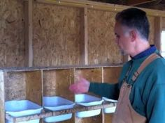 www.BackyardFarmToday.com is the new name of all the excellent backyard farming tips and tricks that you will see in videos like this one.   This is a very easy to use design of chicken nesting boxes.  We wanted to be able to individually clean and maintain each box, so we made them from simple plastic tubs that hang from a frame within our nes...