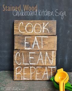 Stained Wood Chalkboard Kitchen Sign - Now you can use chalk on stained wood too! Learn how with this easy tutorial!