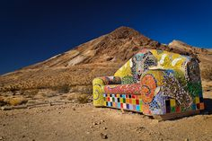 "Sofie Steigmann's ""Sit Here!"" at the Goldwell Open Air Museum in the Nevada ghost town of Rhyolite."