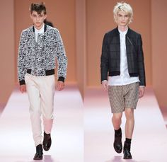 Paul Smith 2014 Spring Summer Mens Runway Collection - White Denim Jeans Outerwear Minimal Coat Bomber Jacket Stripes Geometric Color Block ...