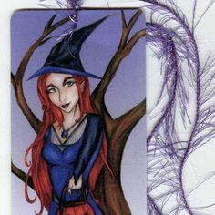Halloween Witch  Black Cat  Art Bookmark  Trick or by aquariann, $4.00 #etsysns #handmadebot #boebot