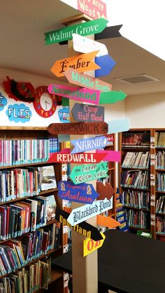 Book Places Signpost at Land O' Lakes Library School Library Decor, School Library Displays, Middle School Libraries, Elementary School Library, Library Themes, Class Library, Library Activities, Library Lessons, Teen Library Space