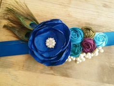 Peacock Wedding Day Sash Belt... Bridal by CherryBlosomBoutique, $89.95