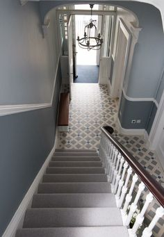 Victorian Floor tiles are suitable for indoor and outdoor floors and can come in a variety of patterns and colours Hall Tiles, Tiled Hallway, Hallway Flooring, Hallway Walls, Grey Flooring, Hallway Ideas, Victorian Terrace Hallway, Edwardian Hallway, Victorian Hallway