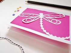 Stunning! Dragonfly Stationery Set Laser Cut Note Card Thank by OlliePopShop