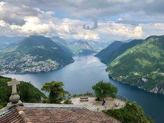Top Views of Lake Lugano from Monte San Salvatore ღღ Monte San Salvatore, Lugano/Switzerland Switzerland Summer, Switzerland Cities, Switzerland Vacation, Visit Switzerland, Lugano, Interrail Europe, Summer Landscape, Lake Como, Northern Italy