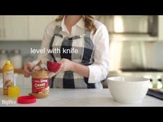 Need a refresher course on measuring ingredients? Take a look at this helpful video. Spraying the measuring cup with cooking spray before measuring peanut butter is genius!