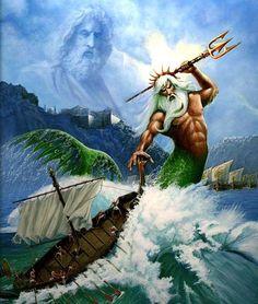 POSEIDÒN: En la mitología griega, Poseidón o Posidón, era el dios del mar y, como «Agitador de la Tierra», de los terremotos. El nombre del dios marino etrusco Nethuns fue adoptado en latín para Neptuno (Neptunus) en la mitología romana, siendo ambos análogos a Poseidón. Las tablillas en lineal B muestran que Poseidón fue venerado en Pilos y Tebas en la Grecia micénica de finales de la Edad del Bronce, pero fue integrado en el panteón olímpico posterior como hermano de Zeus y Hades.