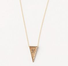 $59, bronze triangle initial necklace, initial necklace, triangle necklace, personalized necklace   #ThreeSistersJewelryDesign for RH Teen