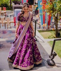 Purple / violet colour embroidery work lehenga choli with stripes stylish dupatta Ghagra choli chaniyacholi indian bride dress Half Saree Lehenga, Lehnga Dress, Sari, Bollywood Lehenga, Lehenga Designs, Half Saree Designs, Lengha Design, Indian Bride Dresses, Indian Wedding Outfits