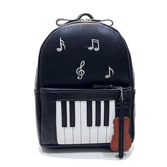 Cheap designer leather backpack, Buy Quality fashion leather backpack directly from China leather backpack Suppliers: 2017 Vogue Fashion Black Harajuku Backpack Novelty Piano Design PU Leather Backpacks for Teenagers Women School Bookbag School Bags For Girls, Girls Bags, Black Leather Backpack, Pu Leather, Leather Backpacks, Harajuku, Music Backpack, Monkey Bag, Trendy Handbags