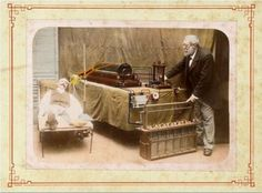 """ca. 1898, """"Arthur Radiguet making a radiograph (x-ray) of a recumbent man"""", via the Wellcome Library, Iconographic Collection.  The x-ray machines I've used in my career sure didn't look like this one!!!"""