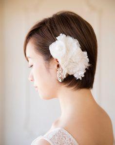 レースの上品ボンネ Ribbon Bows, Ribbons, Bridal, Wedding Hairstyles, Short Hair Styles, Hair Beauty, Hair Accessories, Makeup, Image