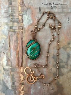 Copper Wire Weave Chrysocolla With Handmade by Traebetruedesign