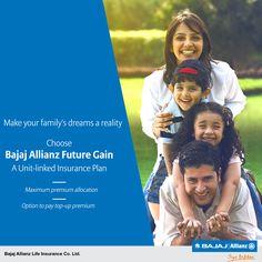 Bajaj Allianz Future Gain - a Unit-Linked Endowment Plan that provides for a maximum premium allocation to make sure that your valuable money is fully utilized towards building you a secured future. #JiyoBefikar