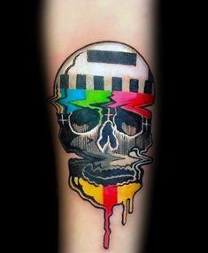 Manly Tv Tattoos For Males ideen 40 TV Tattoos For Men - Television Set Design Ideas Retro Tattoos, Dope Tattoos, Badass Tattoos, Skull Tattoos, Body Art Tattoos, New Tattoos, Tattoos For Guys, Sleeve Tattoos, Uv Tattoo