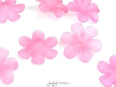 Pink Flower Beads, Large Daisy Flower Beads, 33x8mm Acrylic Flower Beads, Pink Transparent Frosted Bead, Lot Size 12 to 50, #1205