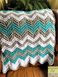 """Tons of Texture Chevron Baby Blanket ~ intermediate level ~ finished size 28"""" x 36"""" ~ FREE - CROCHET"""