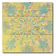 Yellow and Teal design Canvas Wall Art - 16W x 16H in. | from hayneedle.com