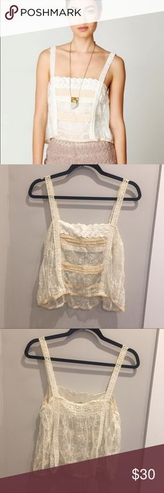 Free People Lace Top Gorgeous, delicate Lace tank. Slightly cropped look. The straps are my favorite part. I've had this for a little while and just never worn it. Fits like a medium or large. Really pretty night out or festival type of look :) will accept reasonable offers Free People Tops Tank Tops