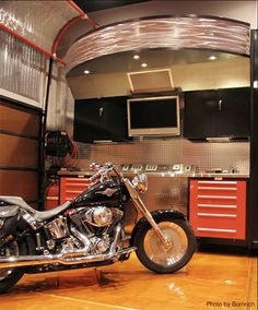 Not a bad spot to park the motorcycle every night. #mancave #garages