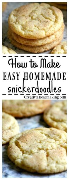 Easy, inexpensive recipe for an old-fashioned cookie favorite--snickerdoodles! The Best Snickerdoodle Recipe - Easy recipe for the BEST homemade snickerdoodle cookies. Easy Baking Recipes, Easy Cookie Recipes, Dessert Recipes, Easy Homemade Cookies, Mini Desserts, Delicious Desserts, Christmas Desserts, Yummy Treats, Sweet Treats