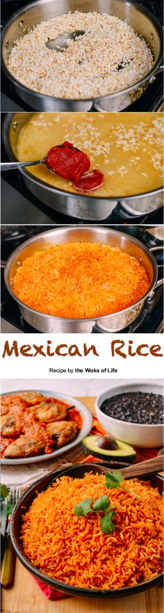 mexikanischer Reis Mexican Rice recipe by the Woks of Life Mexican Rice Recipes, Mexican Dishes, Vegetarian Recipes, Cooking Recipes, Mexican Cooking, Country Cooking, I Love Food, Good Food, Yummy Food