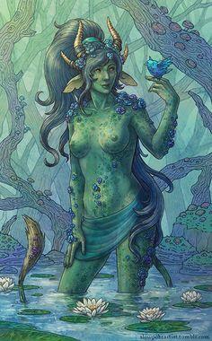 Bathing (Female Nature-Godlike from Pillars of Eternity), Maria Antonova on ArtStation at https://www.artstation.com/artwork/Be1am