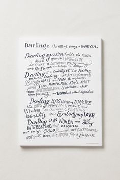 Darling Magazine, Mission Statement in Hand Lettering Typography Letters, Typography Logo, Hand Lettering, Sweet Words, Typography Inspiration, Stationery Design, Be Yourself Quotes, Cool Words, Connect
